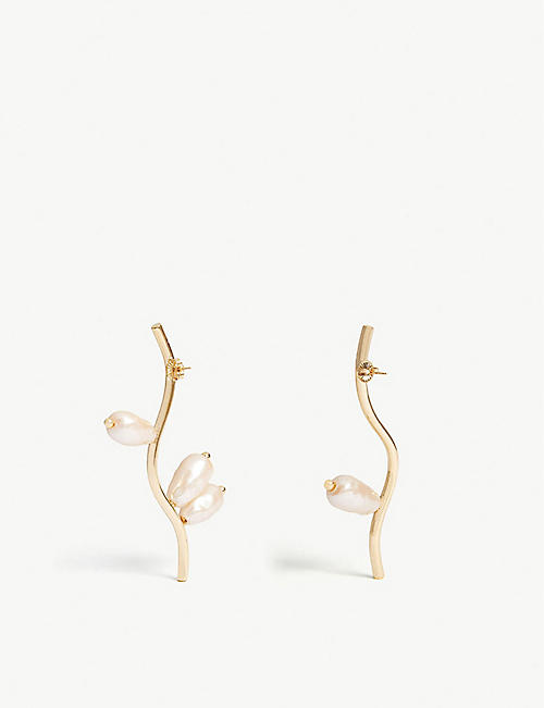 BEAUFILLE Branch 10k yellow gold plated earrings