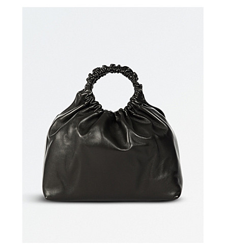 Double Circle Small Top Handle Bag in Black