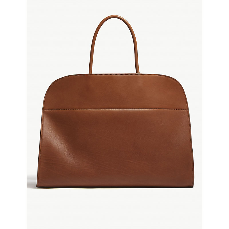Margaux 17 Leather Tote in Saddle Brown