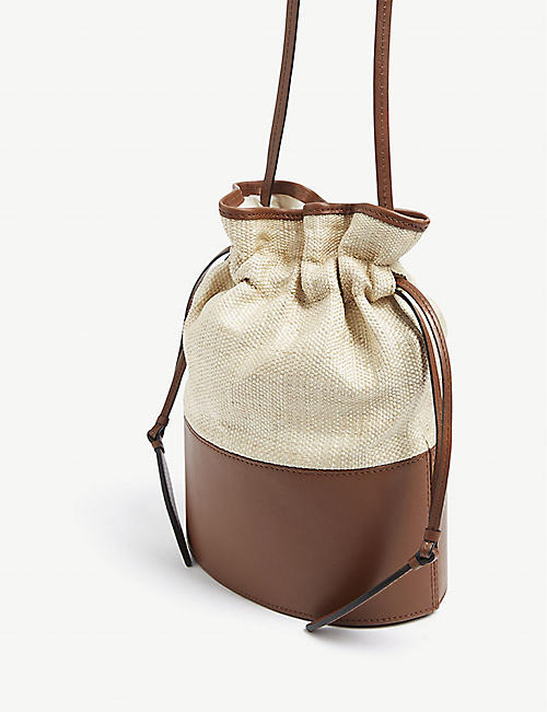 HUNTING SEASON Lola raffia large bucket bag
