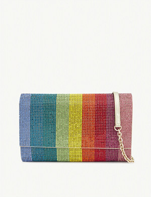 JUDITH LEIBER Fizzoni crystal satin clutch