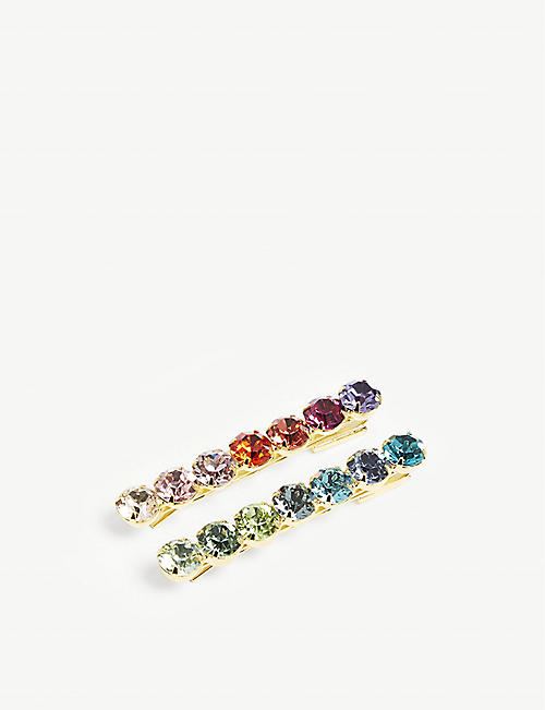 LELET NY Spectrum Bobbi crystal-embellished hair clips