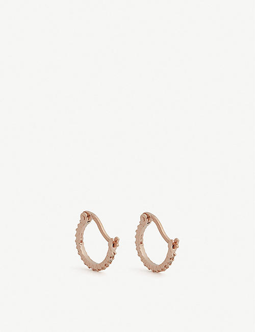 ROSIE FORTESCUE JEWELLERY Huggy rainbow stones hoop earrings