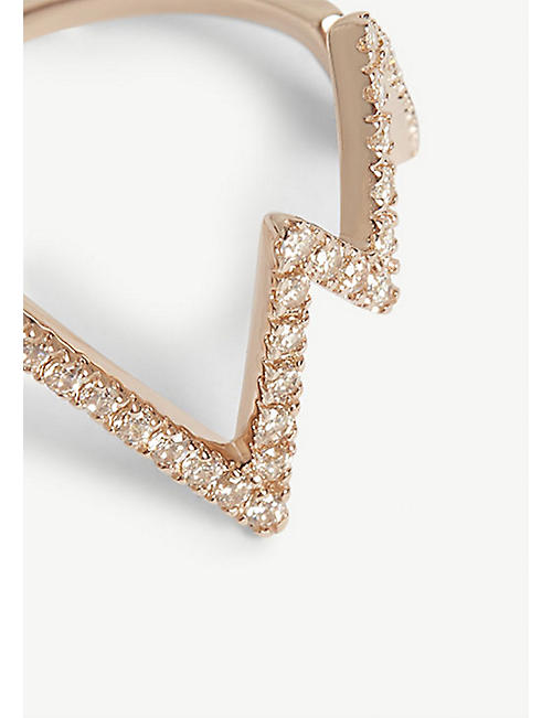 ROSIE FORTESCUE JEWELLERY Heartbeat rose gold-plated ring