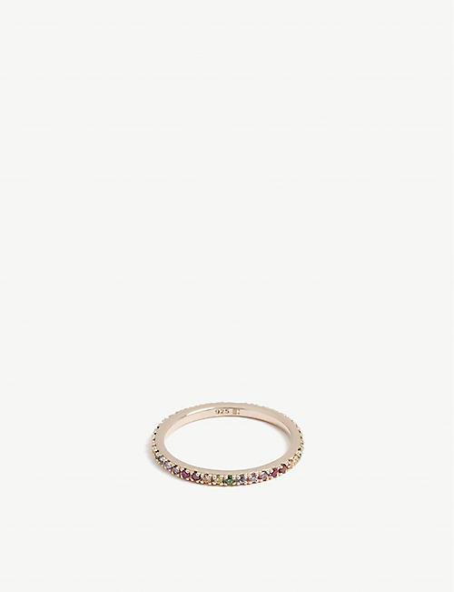 ROSIE FORTESCUE JEWELLERY Stacking 21ct rose gold-plated sterling silver and zirconia ring