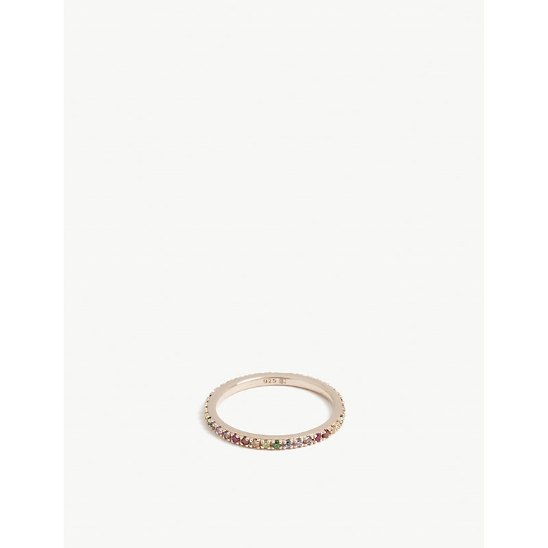 ROSIE FORTESCUE JEWELLERY   Stacking 21ct Rose Gold-Plated Sterling Silver And Zirconia Ring   Goxip