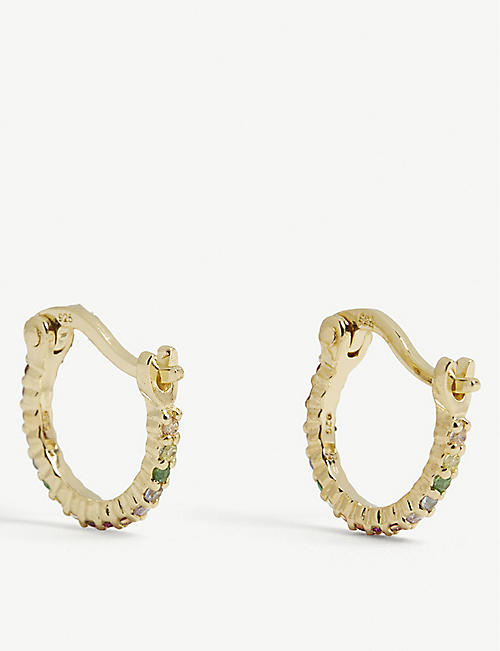 ROSIE FORTESCUE JEWELLERY Huggy Hoop 18ct gold-plated sterling silver and zirconia earrings