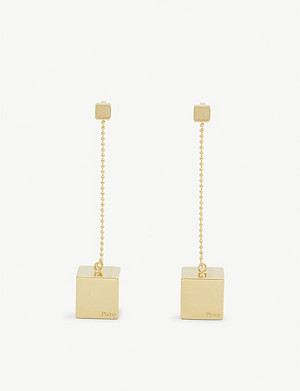 PHINE JEWELLERY Feminist drop cube earrings