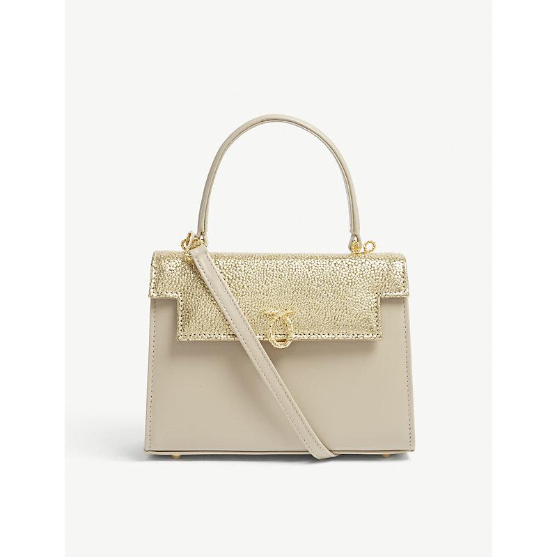 LAUNER Gold Judi Stingray Embossed Leather Tote Bag
