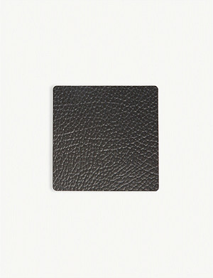 LIND DNA Hippo square leather coaster