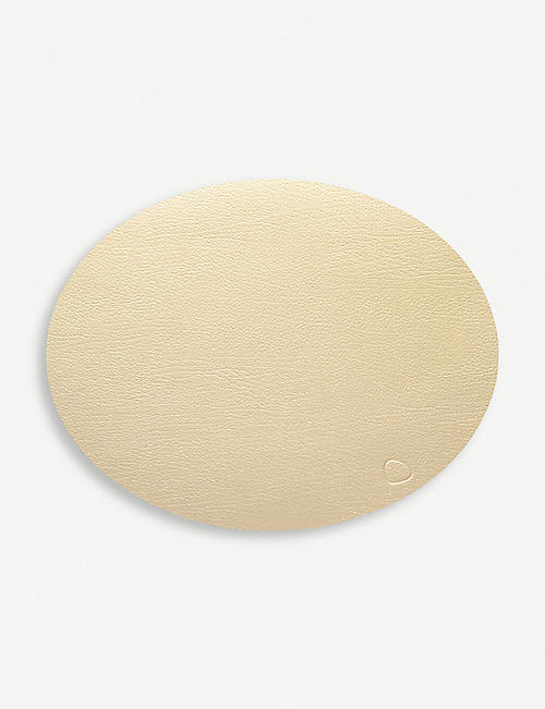 LIND DNA Oval leather table mat 45cm x 36cm