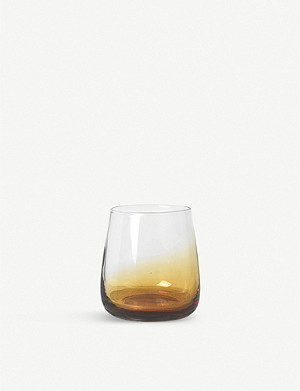 BROSTE Amber mouth-blown glass tumbler 350ml