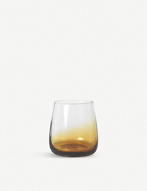 BROSTE: Amber mouth-blown glass tumbler 350ml