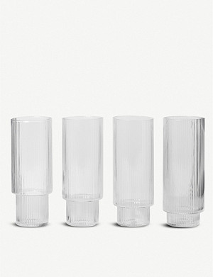 FERM LIVING Ripple set of four glasses