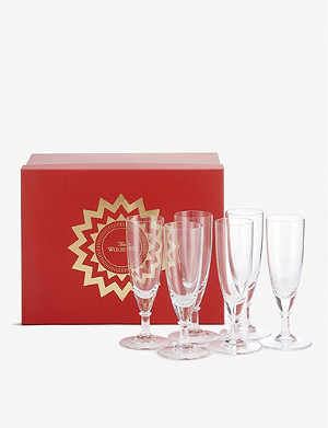 THE WOLSELEY Crystal champagne flutes set of six