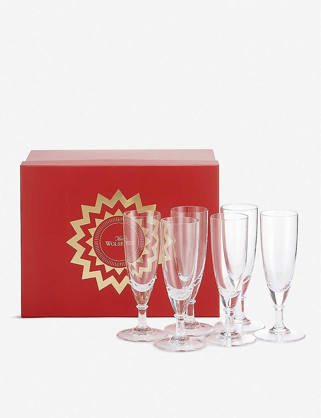 THE WOLSELEY: Crystal champagne flutes set of six