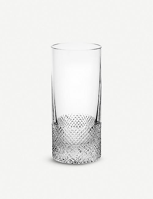 RICHARD BRENDON: Diamond cut crystal high ball glass 15cm
