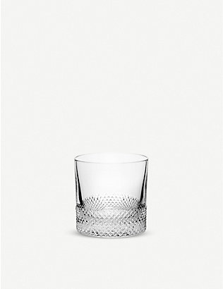 RICHARD BRENDON: Diamond cut crystal double old fashioned glass 9cm