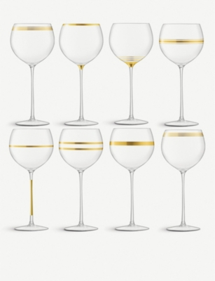 LSA Deco glass wine goblets 525ml set of eight