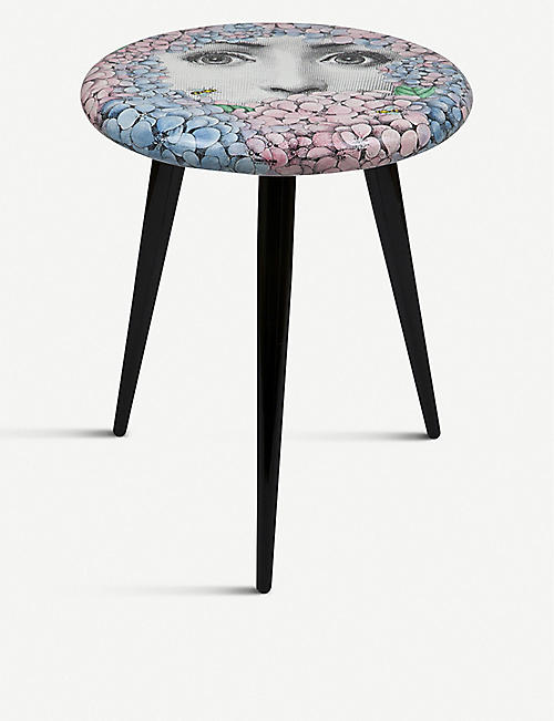 FORNASETTI: Ortensia lacquered wooden stool 46cm
