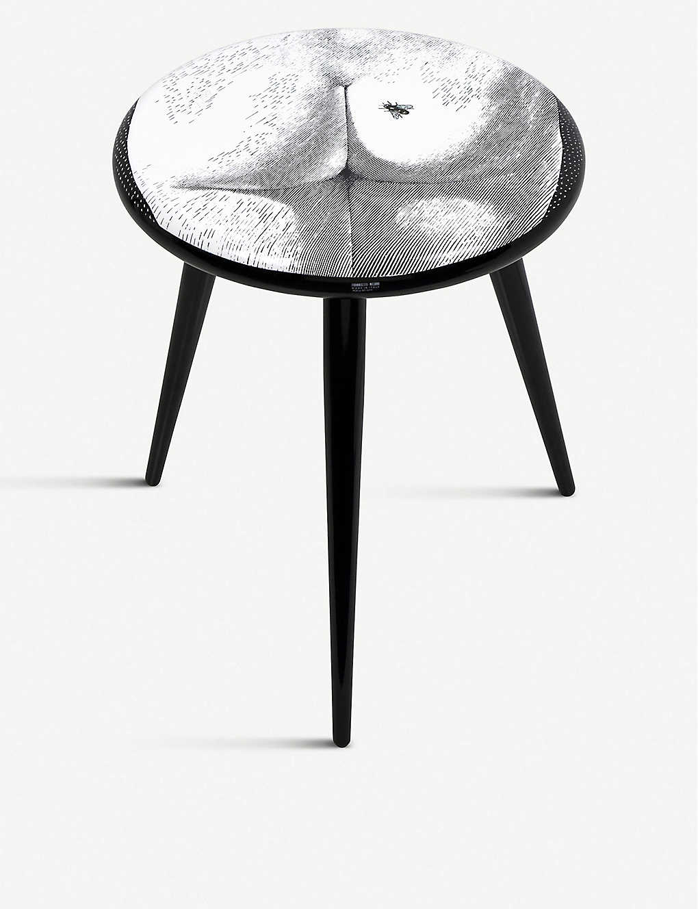 FORNASETTI: Bee on My Back lacquered wooden stool 46cm