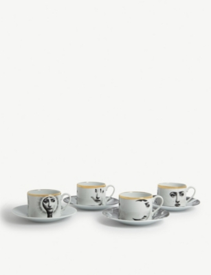 FORNASETTI Cup and saucers set of 4