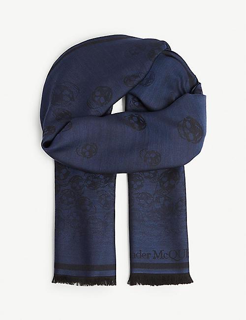 7e5370b57a0 ALEXANDER MCQUEEN Degenerating skull print wool and silk-blend scarf