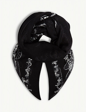 ALEXANDER MCQUEEN Silk cycling skeleton scarf