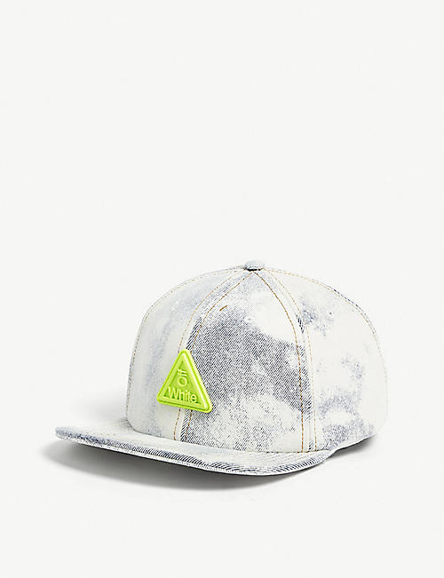 cfa1febeca0 OFF-WHITE C O VIRGIL ABLOH Neon logo bleached denim snapback cap