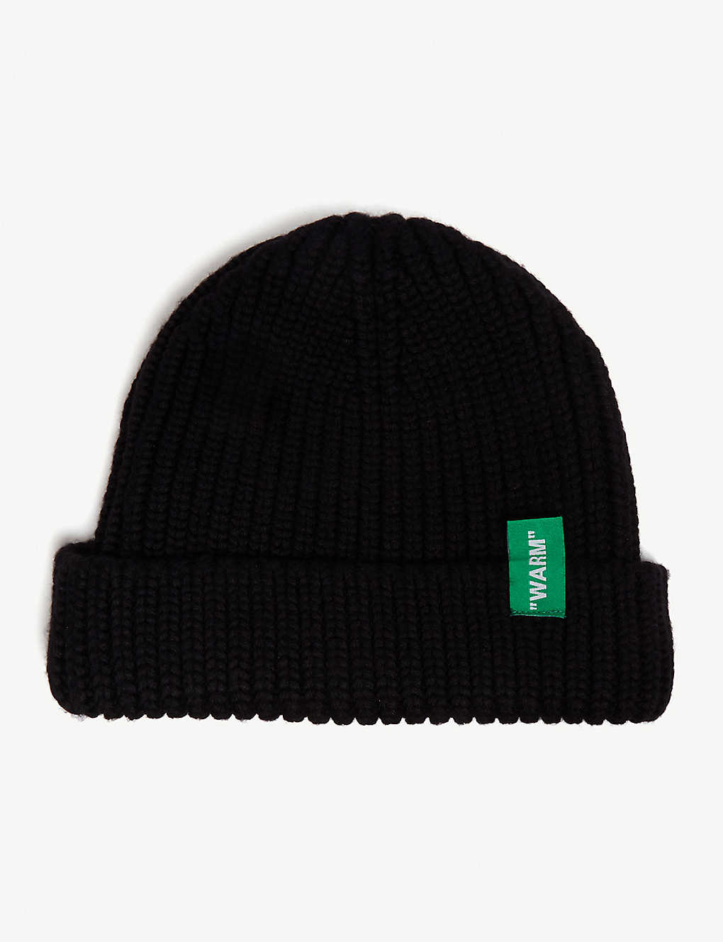 198d81c95b200 OFF-WHITE C O VIRGIL ABLOH - Logo cable-knit wool beanie ...
