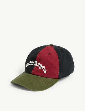 PALM ANGELS Logo colour block cotton baseball cap