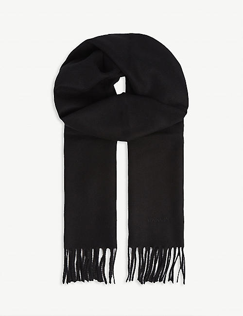 LANVIN Plain tasselled wool scarf