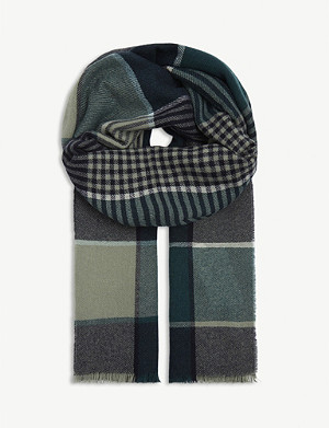 JOHNSTONS Refine check cashmere scarf
