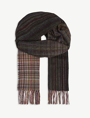 PAUL SMITH ACCESSORIES Herringbone stripe wool scarf