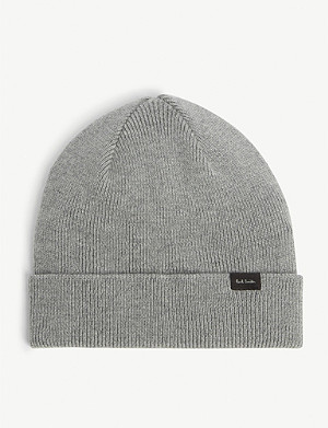 PAUL SMITH ACCESSORIES Logo appliqué wool-cashmere beanie