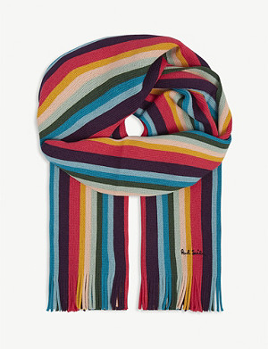 PAUL SMITH ACCESSORIES Artist stripe wool scarf