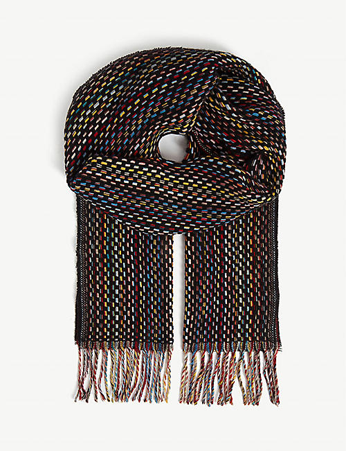 PAUL SMITH ACCESSORIES Basket weave striped cashmere scarf
