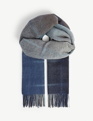 PAUL SMITH ACCESSORIES Faded check wool scarf