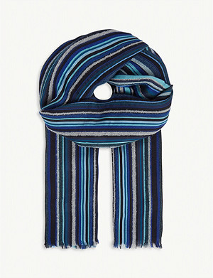PAUL SMITH ACCESSORIES Mextured Textured stripe wool scarf