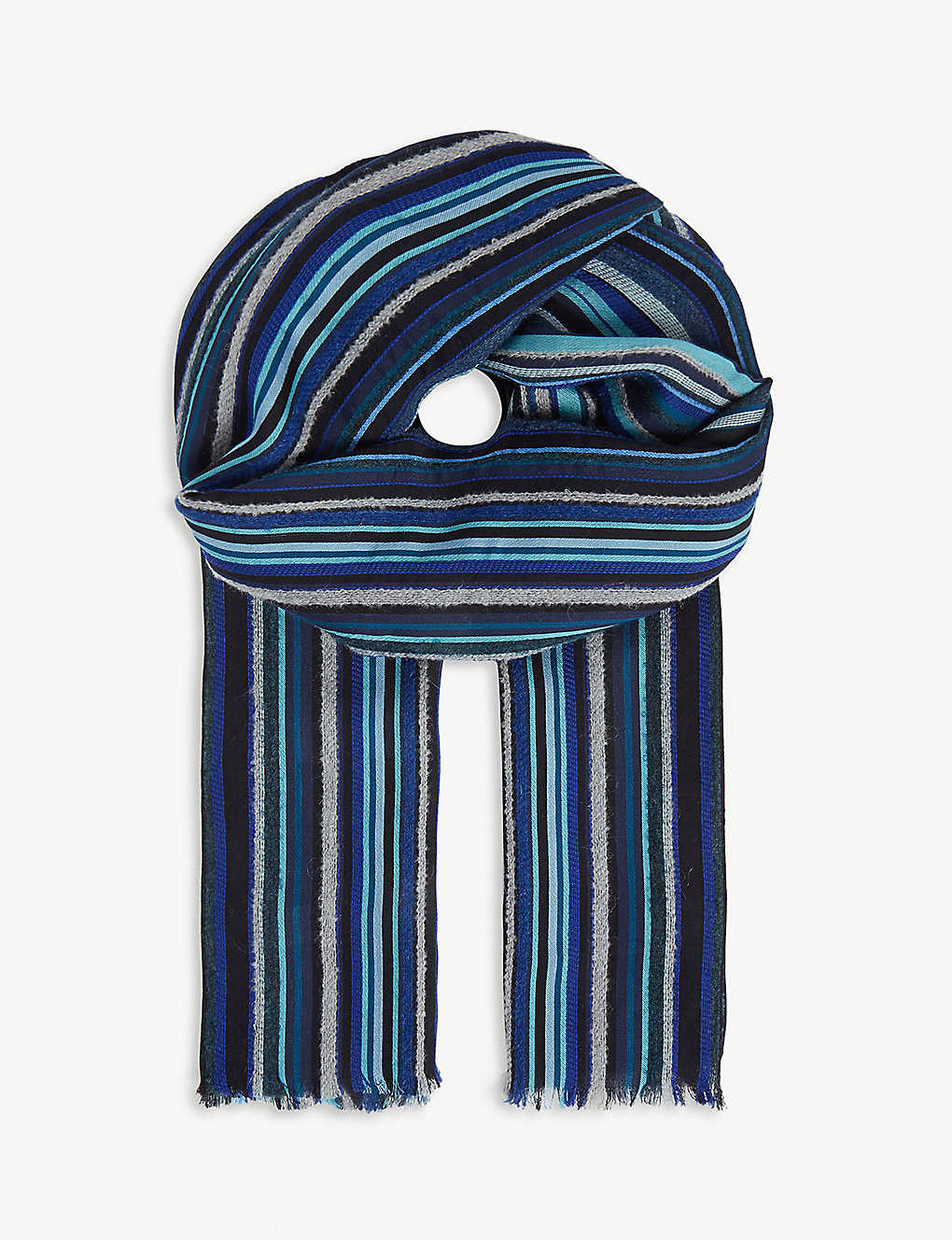 PAUL SMITH ACCESSORIES: Mextured Textured stripe wool scarf