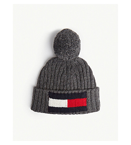 2e066d7acbe TOMMY HILFIGER - Big flag knitted wool and cotton beanie ...