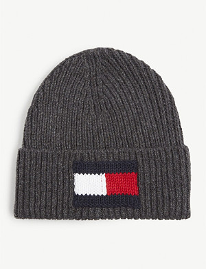 TOMMY HILFIGER Wool and cotton logo beanie