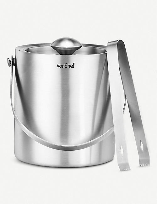 VONSHEF Stainless steel ice bucket with tongs 16cm