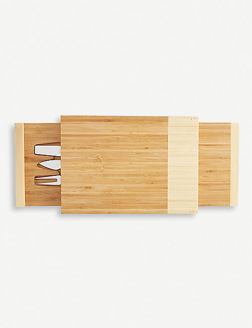 VONSHEF Layered bamboo cheese board and knife set