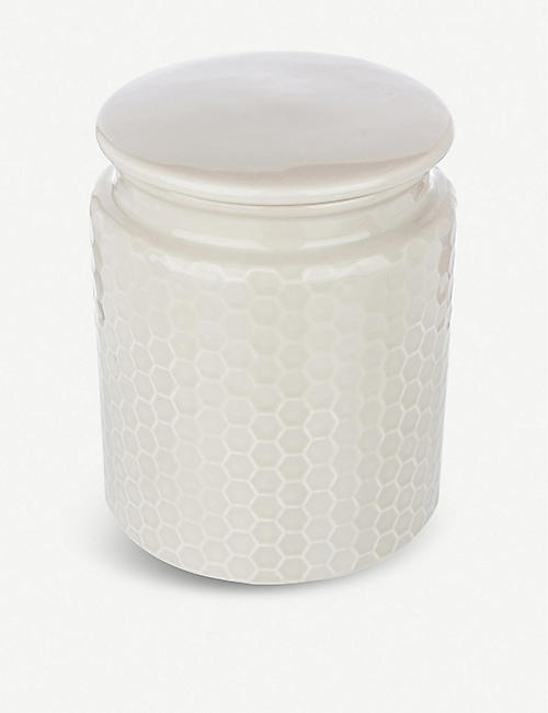 THE KITCHEN PANTRY Honeycomb-embossed stoneware storage jar 17cm
