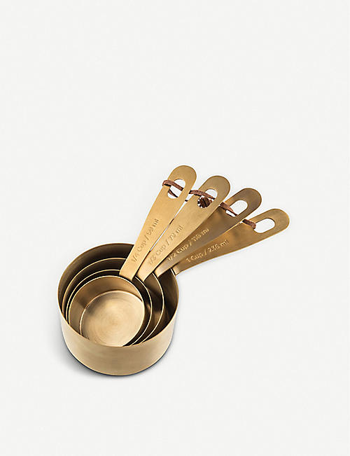 THE KITCHEN PANTRY Brass measuring cups set of four