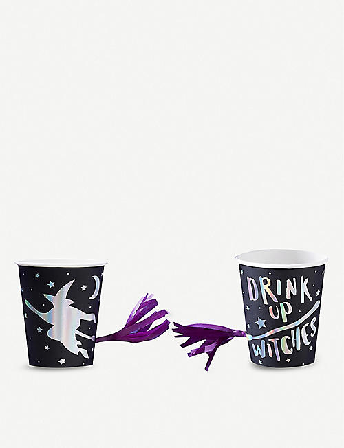 HALLOWEEN Foil-embellished paper cups pack of eight