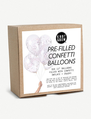 KNOT & BOW Confetti latex balloons pack of six