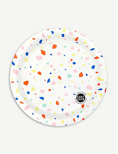 KNOT & BOW: Rainbow chip paper plates pack of 10