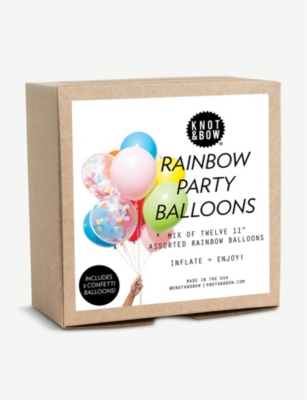 KNOT & BOW Rainbow Party Balloons pack of 12